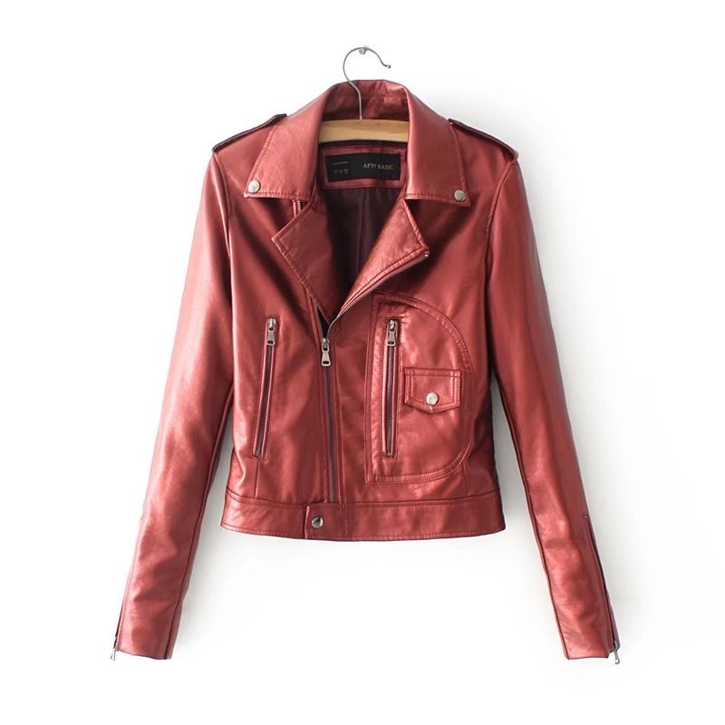 VOGUEIN New Womens White Faux Leather Jackets Bomber Motorcycle Outerwear Coat 4 Colors Wholesale