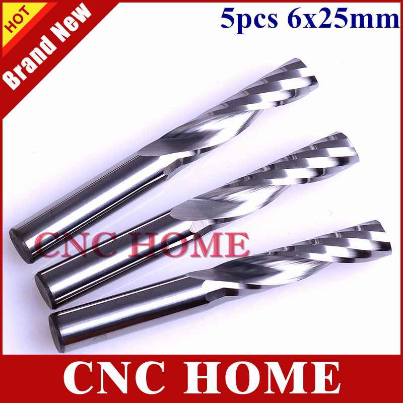 High Quality 5pcs lot 6 25mm Single Flute Carbide CNC Router Bits Tools Mill Spiral Cutter