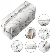 Large Capacity PU Leather Makeup Bag Carry Pouch Marble Grain Cosmetic Female Waterproof Zipper Storage