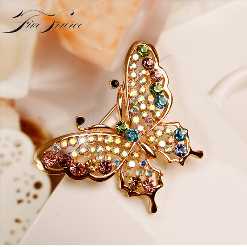 Full Colorful Crystal Brooches Animal Beautiful Cute Butterfly Shape Brooches Jewelry For Women Safety Pins Gift