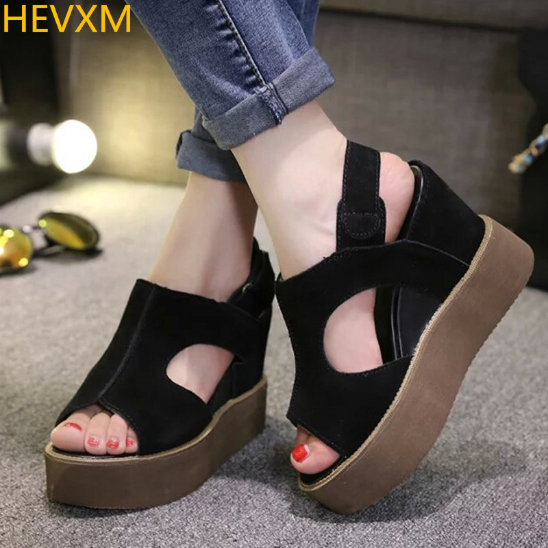 HEVXM 2017new  Summer Shoes Woman Sandals 10CM High Heels Women Casual Shoes Wedges Platform Sandals Roman Sandals zapatos mujer phyanic 2017 gladiator sandals gold silver shoes woman summer platform wedges glitters creepers casual women shoes phy3323