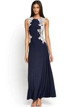 New Lace Embellished Sleeveless Summer Style Blue font b Maxi b font font b Dress b