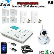433 MHz GSM sistema de alarma antirrobo inmunidad a mascotas pir sensor de la cámara del ip del wifi incluyen la operación por teclado táctil del envío gratis