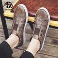 AD AcolorDay Мода 2017 Дизайнер Мужчины Обувь Повседневная Водонепроницаемый Печати Весна Кожаные Ботинки Круглый Носок Коричневый Скольжения на Мокасины