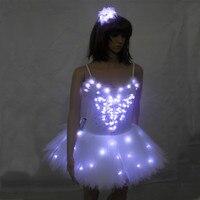 Luminous Ballet Swan Lake LED TuTu Veil Costume Adult LED Ballet Skirt Puff White Classic LED Ballet Skirt Dress