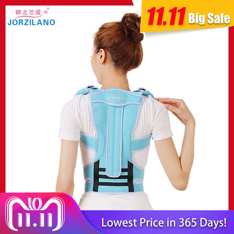 купить JORZILANO Adjustable Adult Corset Back Posture Corrector Shoulder Lumbar Brace Spine Support belt for Men Women health body care онлайн