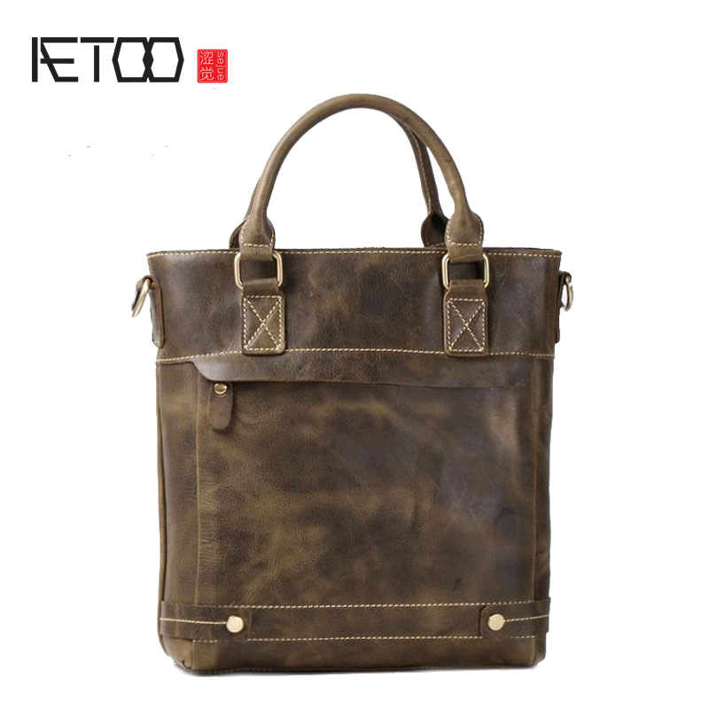 AETOO New first layer of leather cowhide leather leather handbag shoulder diagonal cross men and women common package aetoo first layer of leather foreign trade shoulder oblique cross package leather square notebook handbag business briefcase men