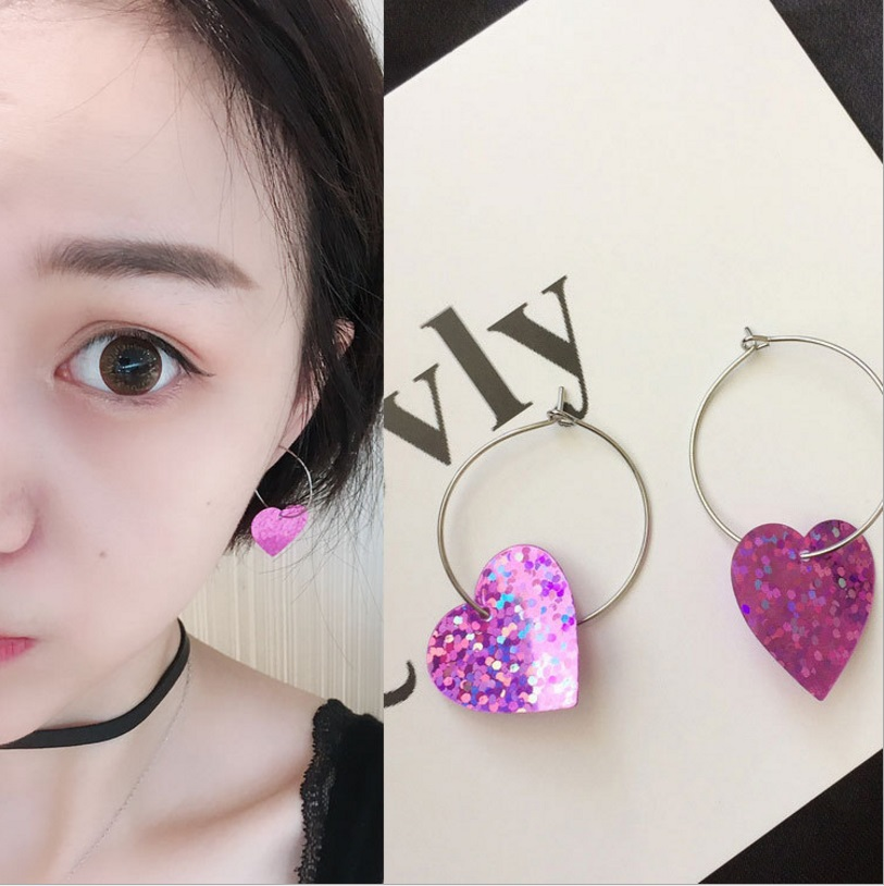 Hot Sale Rose Red Love Heart Silver-color Circle Hoop Earrings Basketball Brincos Celebrity Brand Loop Earring for Women Jewelry