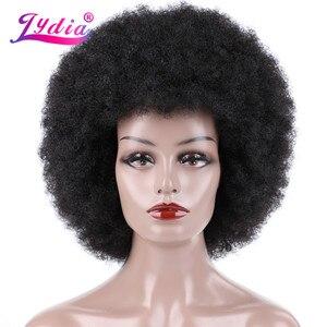 Pelucas sintéticas rizadas Afro lidia de 16 pulgadas, Kanekalon resistente al calor, peluca de pelo para Cosplay de estilo africano y americano para uso diario