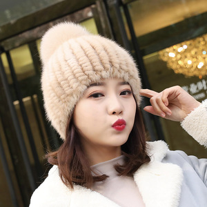 Image 2 - מכירה לוהטת אמיתי מינק פרווה כובע נשים החורף סרוגים מינק פרווה בימס כובע עם שועל פרווה פום Poms בעבודת יד חדש עבה נקבת כובע פרווה כובע
