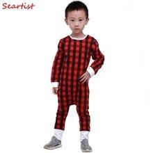 Купить с кэшбэком Baby Girls Boys Christmas Romper Newborn Infant Red Plaid Pajamas Girl Spring Cotton Jumpsuit Toddler Harem Jumper 2017 New 35C
