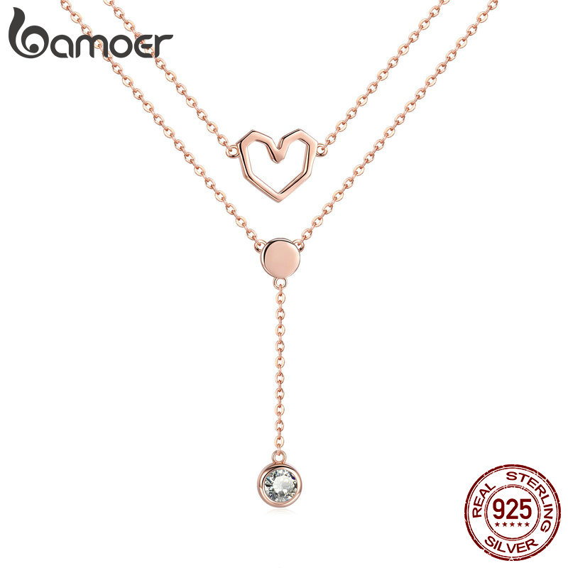 BAMOER Valentine Collection 925 Sterling Silver Double Layers Love Heart Chain Pendant Necklaces Women Female Jewelry SCN317BAMOER Valentine Collection 925 Sterling Silver Double Layers Love Heart Chain Pendant Necklaces Women Female Jewelry SCN317