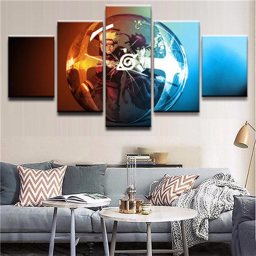 5 Panels Naruto Anime Custom Painting Canvas Wall Art Picture