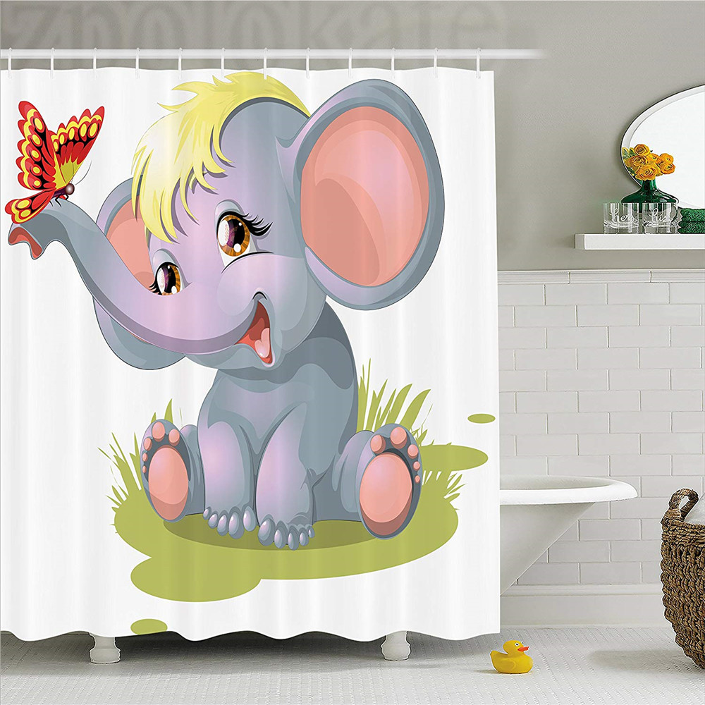 Elephant Nursery Decor Shower Curtain, Newborn Animal Mascot Puppet Yellow Hair Fun Happ ...