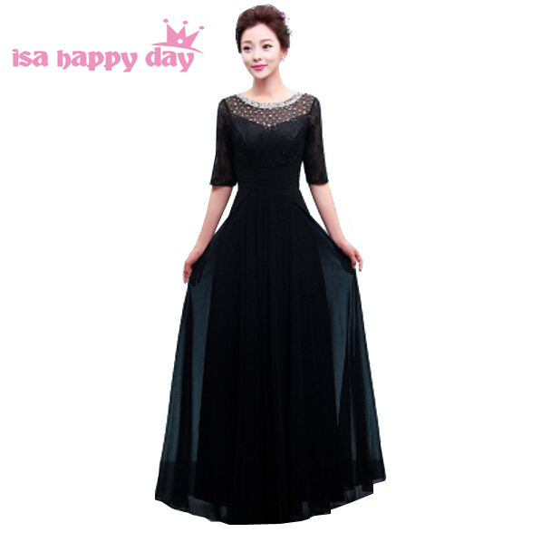 black long chiffon with beading simple elegant bridesmaid fuschia women formal bridesmaids party dresses with sleeves H3760