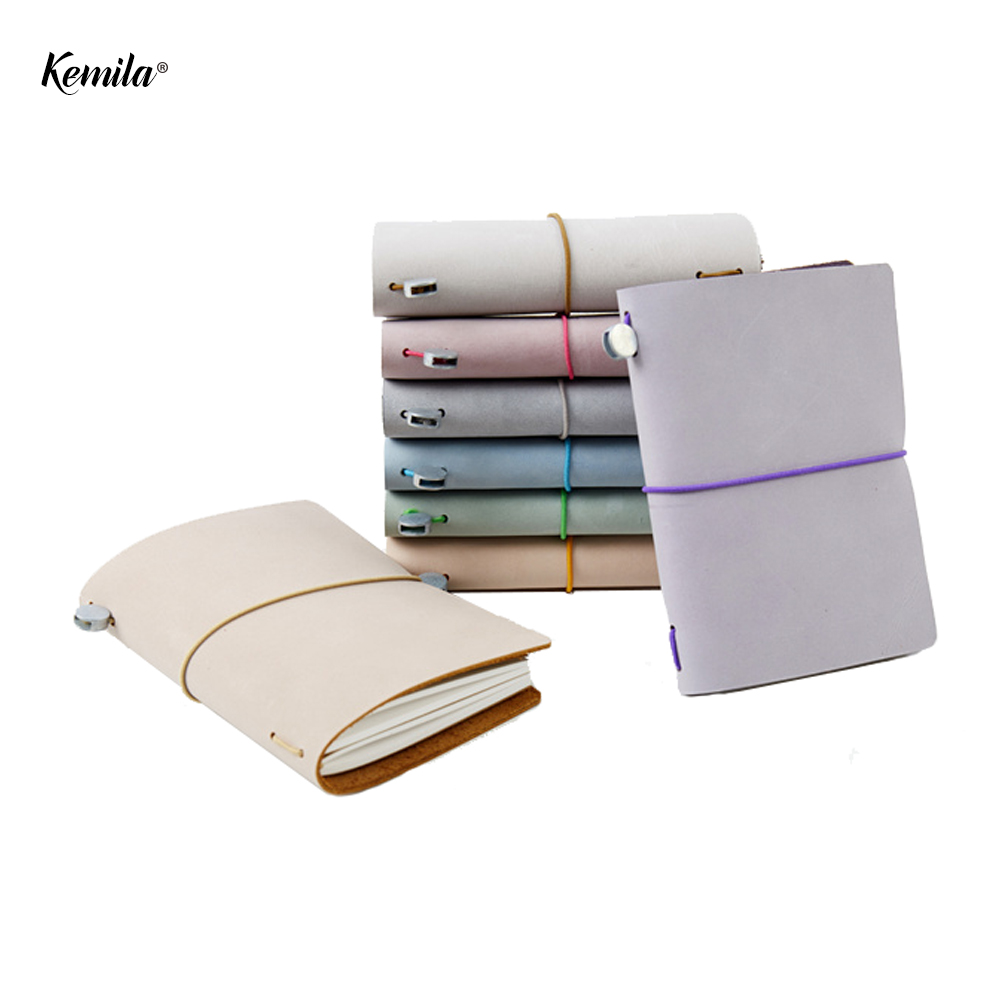 kemila Travelers Leather Notebook Macaron Retro Notebook Diary Handmade Cowhide Planner Agenda Organizer Passport typeOrganizer цена