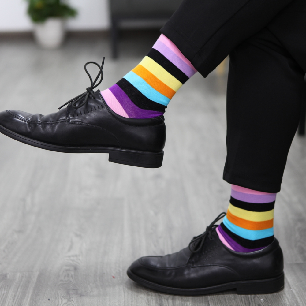 Image 4 - Match Up Men Colored color stripes Cotton  Socks argyle Casual Crew Socks (5 Pairs/Lot) US 7.5 12-in Men's Socks from Underwear & Sleepwears