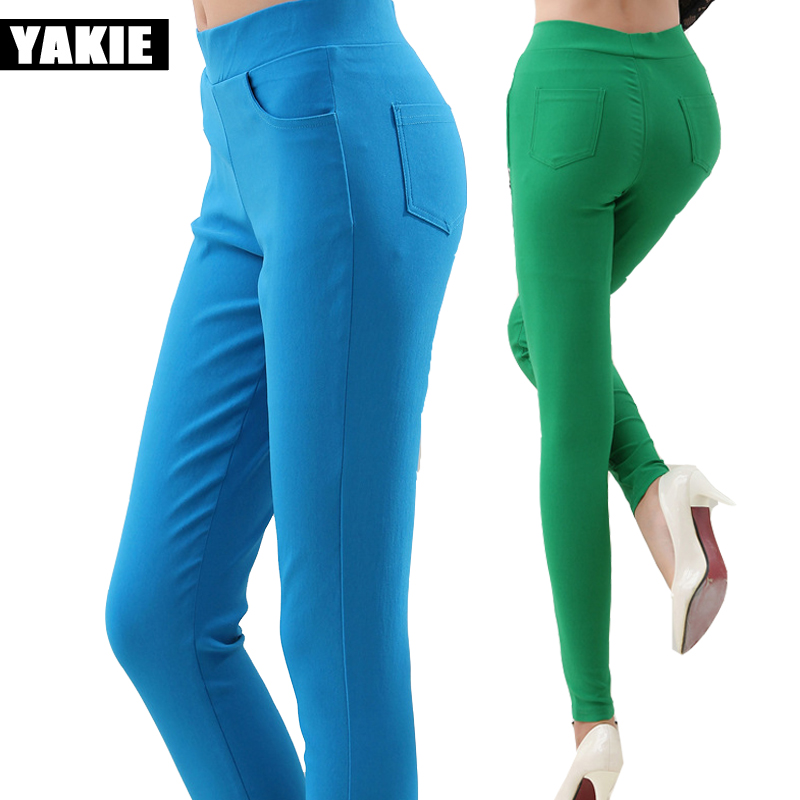 Sweet candy color 12 colors high elastic waist women pencil pants capri stretch Plus size 2017 leggings female long trousers