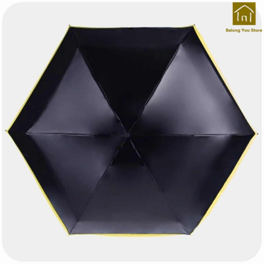 Mini paraguas plegable Ultra ligero paño negro resistente al viento de alta calidad paraguas lluvia mujeres Regenschirm paraguas de lluvia WKW060