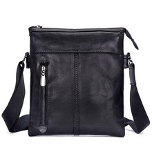J.M.D Vintage Black Real Leather Mens Small Sling Bag Messenger 1023A