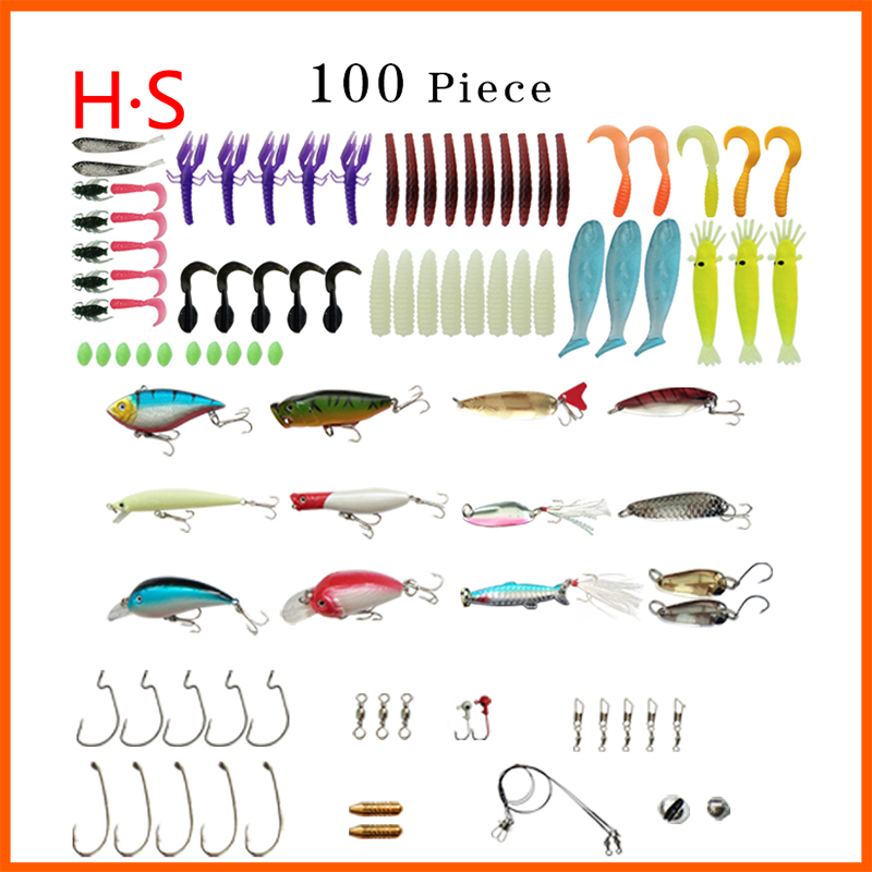 100Pcs Bait Kit Mix b Fish Grass Carp Fishing Popper Silver Bait Box Spin Spoon Sharp Fish Hook High Quality Artificial Bait Set fish king 1pc 8pc bags mepps spoon 8 colors weight 20g 30g hook 2 3 artificial bait 10 5cm 12 0cm fishing lure for fish