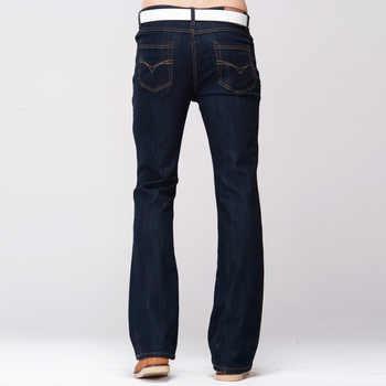 GRG Mens Slim Boot Cut Jeans Classic Stretch Denim Slightly Flare Dark Blue Pants Fashion Stretch Trousers