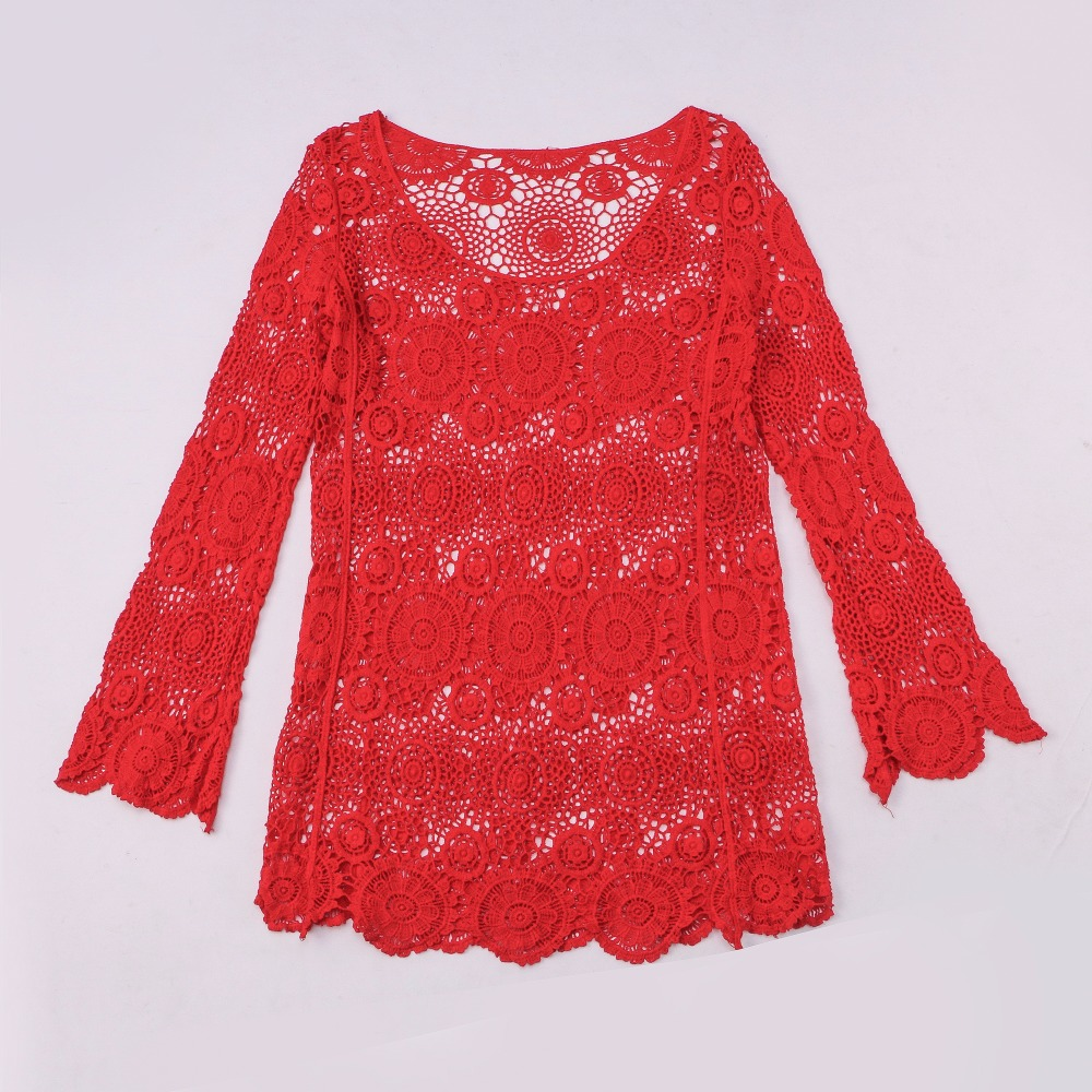Spicylace Hollow Out Red Lace Blouse Tops Women Casual Elegant Lace Tops O-Neck Long Sleeve Korean Fashion Style Blouses