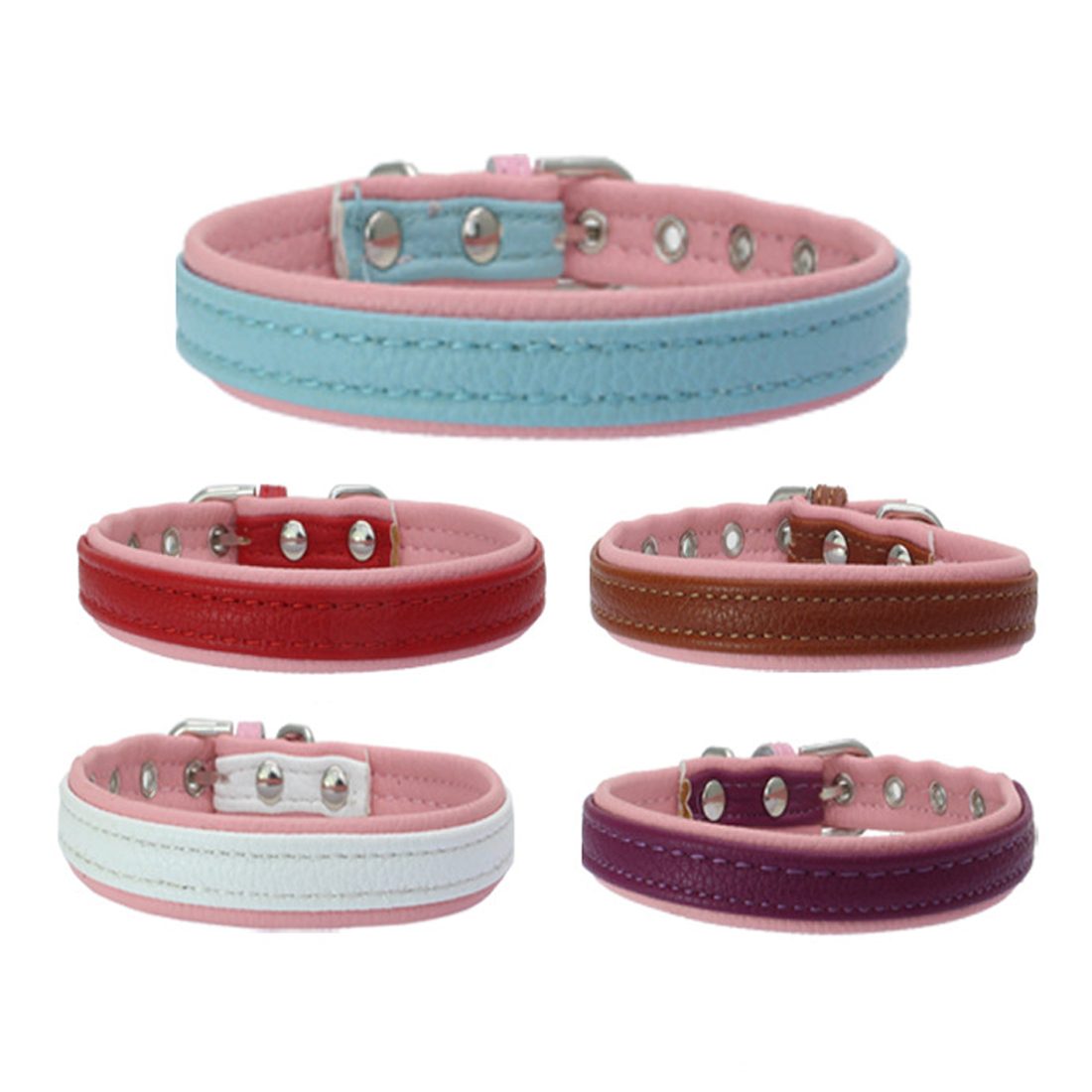 New Brand Cool Rivets Studded Genuine Leather Pet Dog Collars For Dogs With Four Color Boxer Bulldog Pitbull XS S M L