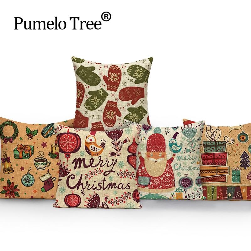 Cartoon μόδας στυλ Χριστουγεννιάτικη μαξιλάρι εξώφυλλο εξώφυλλο Αρχική διακοσμητικό κλωστοϋφαντουργίας Cojines καναπέ ρίψη μαξιλάρι τυπωμένο βαμβάκι λινό τετράγωνο