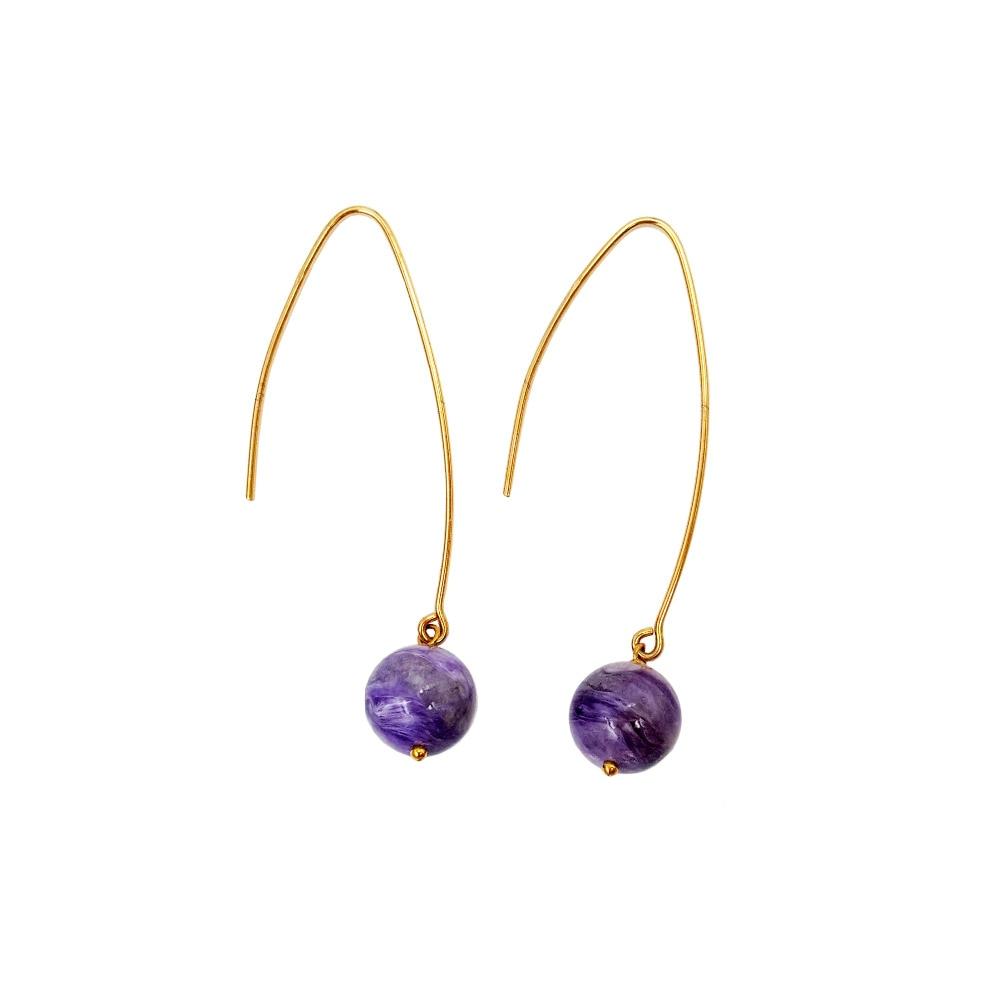 Lii Ji Charoite 10mm beads 925 Sterling Silver Long Dangle Earrings цена