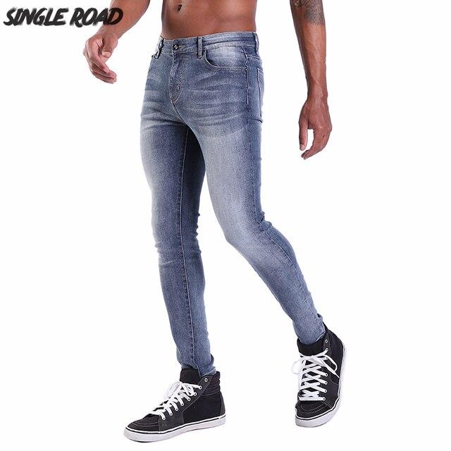 Single Road Super Skinny Jeans Men 2019 New Mens Dark Blue Jeans Streetwear Stretch Denim Pants Slim Fit Top Quality Brand Man