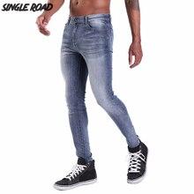 Đĩa đơn Đường Siêu Quần Jean Skinny Nam 2019 Mới Nam Màu Xanh Đen Quần Jean Dạo Phố Co Giãn Quần Denim Mỏng Phù Hợp Với Chất Lượng Hàng Đầu thương hiệu Người Đàn Ông