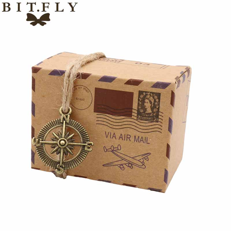 50pcs Kraft DIY Vintage Travel Candy Box With Globe And Compass Chocolate Packaging Gift Box And Gifts Bag Party Wedding Favors