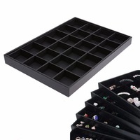 24 Grids Jewelry Organizer Display Case PU Velvet Tray Necklace Rings Case Box Organizer Jewelry Display