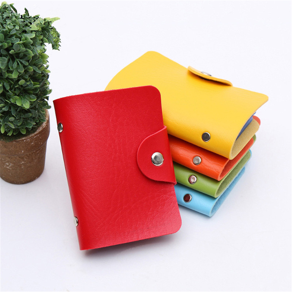 24 Bits Credit Card Holder Fashion New Women Men PU Leather Hasp Unisex ID Holders Package Organizer Manager Free Shipping