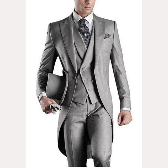 6213b9fb2 Clásico de novio para hombres FRAC gris claro mañana traje de baile  padrinos de boda de