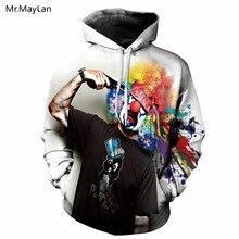 Mr.MayLan 2018 Fashion Funny Men/women Hoodies with Cap Print Gun Clown Hooded Hoody Sweatshirt 3D lovely Tracksuits Clothing