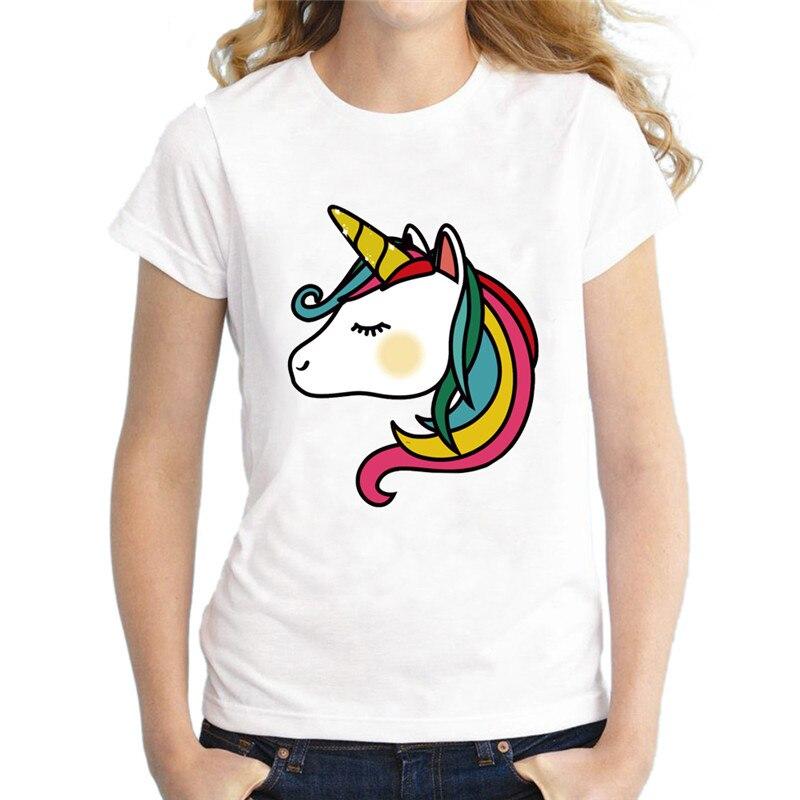 New barnd cute t-shirt Women animal colorful unicorn Funny Printed Ladys Tops Short Sleeve O-Neck T-shirt harajuku Casual wear