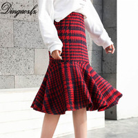 Dingaozlz Autumn Winter Skirt Casual Houndstooth Fishtail Skirt Ruffles High Waist Woollen Skirt