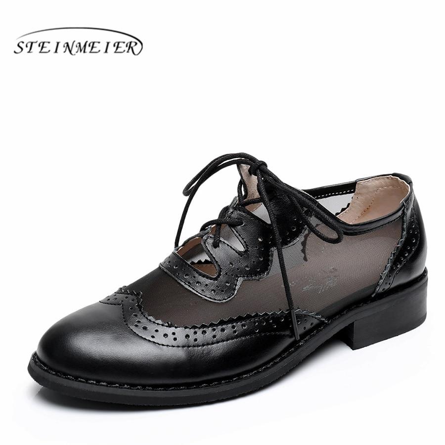 Ayakk.'ten Kadın Topuksuz Ayakkabı'de Hakiki deri brogues tasarımcı vintage flats ayakkabı yuvarlak ayak el yapımı beyaz mavi siyah oxford ayakkabı kadınlar için 2018 bahar'da  Grup 1