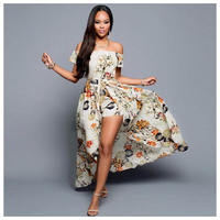 Women's New Fashion Summer Dress Sexy Off Shoulder Print Split Long Dress Rompers Beach Maxi Party Boho Dresses(Beige,S/US-2/U