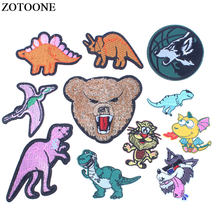 ZOTOONE Dinosaur Embroidery Patches for Clothing DIY Cute Animal Bear Embroidered Appliques Patches Clothing Dress Accessories E(China)