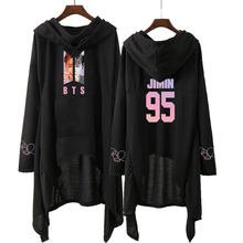 Drop shopping BTS dress fashion 2018 women Hooded sweatshirt BTS SUGA JIN JHOPE JIMIN love yourself kpop clothes pullover(China)