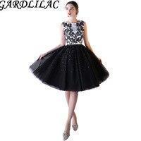 Gardlilac черное бальное платье без рукавов короткое платье на выпускной с кристаллами пятен и тюль с аппликацией короткое выпускное платье