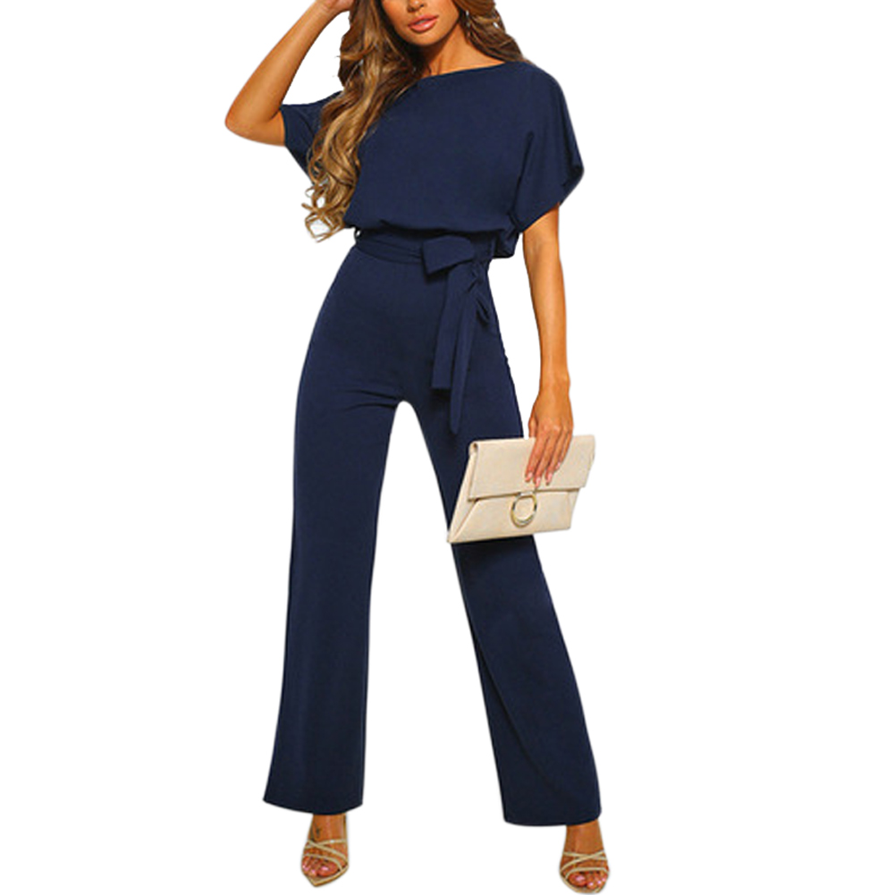 Ladies Jumpsuits Solid Color Loose Wide Sleeve Strappy Waist Jumper For Summer FDC99