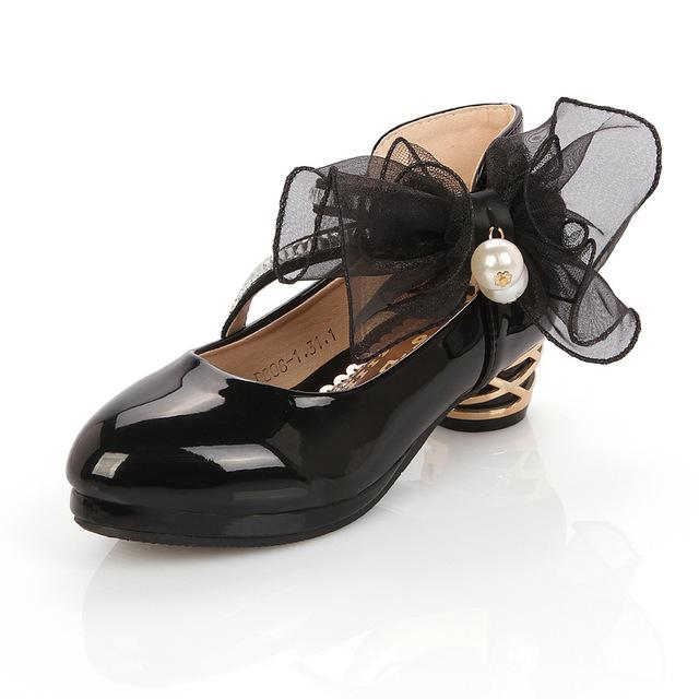 Children Shoes Girls Pump High Heeled Flower Pearl Girls Party Wedding Shoes Platform Princess Kids Dress Shoes White  TX467