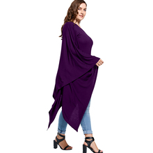 Lace Up Asymmetric T-Shirt Ladies Skew Neck Tops Batwing Sleeve T Shirt Women Clothes Plus Size XL-5XL