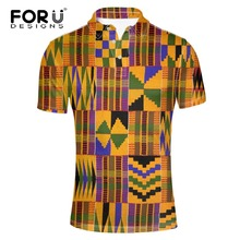 FORUDESIGNS Summer short-sleeve shirt male big size 3XL stand collar short sleeve polo african print mens clothing