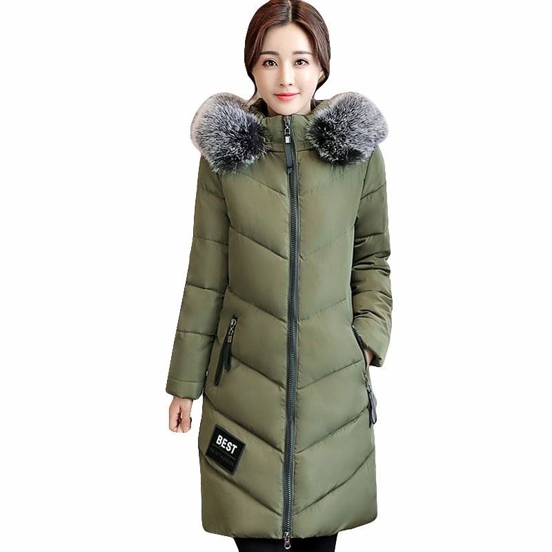 Women long Coats plus size Jacket Warm casaul Woman Parka big Fur collar Winter Thick Coat Women 2017 Winter outerwear QH0540 plus size winter jacket parka women long coat big hooded fur collar loose female clothes thick warm woman jackets ladies coats