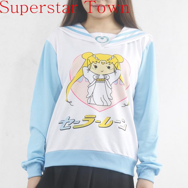 Japonês Roupas Kawaii Anime Mulheres Hoodies Harajuku Camisola Hoodies Bonitos Mulheres Sailor Moon Camisa Poleras de Mujer